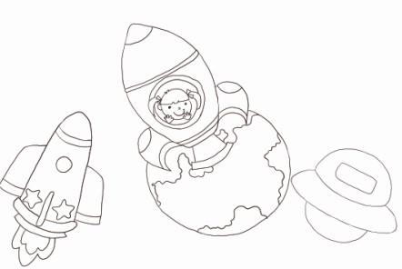 他也绘画了一系列的宇宙飞船科幻画作品    222.240.134.