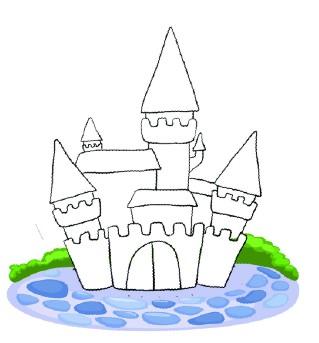 梦幻童话城堡简笔画步骤